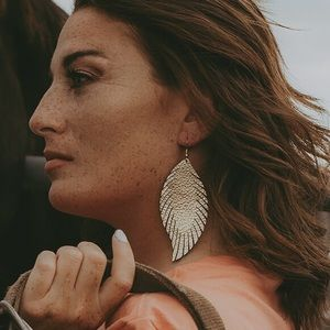 Jewelry - Genuine Leather Feather Earrings